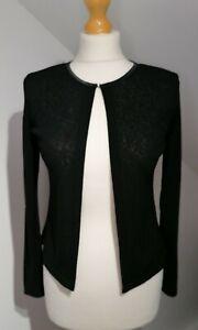 Vintage New Look Uk 12 Black Semi Sheer Cardigan 90's Y2K