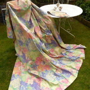 Pair Vintage Floral Curtains CROWSON Louvier Pastel Country Cottage Pink Purple
