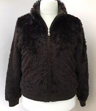 Gossip Brown Faux Fur Quilt Lined Bomber Jacket Coat Size L 12 - 14