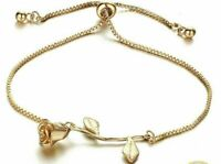 New Silver Yellow Gold Tone  Rose Toggle Clasp Chain Link Adjustable Bracelet