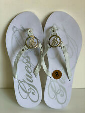 NEW! GUESS GLEAM WHITE SILVER LOGO CHARM FLIPFLOPS SANDALS SLIPPERS 8 38 SALE