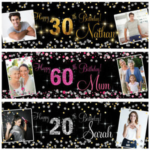 Personalised birthday banner Photo Silver Gold Pink party wedding poster