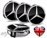 4x Mercedes Alloy Wheel Centre Caps Black 75mm Benz AMG Badges Class Hub Emblem