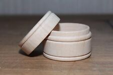 Large Round Raw Wood Scrapbooking Jewelry Ring Keepsake Pill Powder Box w/ Lid