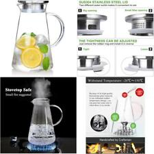 New listing Susteas 2.0 Liter 68 Ounces Glass Pitcher With Lid Iced Tea Pitcher Water Jug Ho