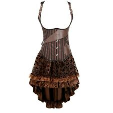 Sexy Gothic Corset Dress Underbust Corsets and Bustiers With High Low Skirt
