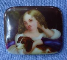 ANTIQUE CAVALIER KING CHARLES SPANIEL DOG VICTORIAN GIRL