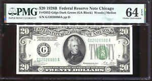1928-B $20 Federal Reserve Note Chicago G12026980A PMG Choice Unc 64EPQ