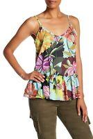 Trina Turk Women's Hadley Floral Print Ruffle Trim Silk Blend Tank Top Small