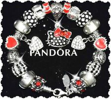 Authentic Pandora Silver Charm Bracelet and European Charms Hello Kitty CZ New