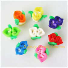 8Pcs Mixed Polymer Fimo Clay Flower Leaf Spacer Beads Charms 11x12mm