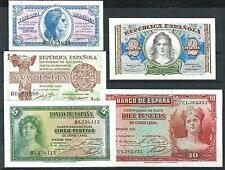 5 Billetes50 cent ,1,2,5,10  Pesetas 1935 /1938 Plancha De Tacos