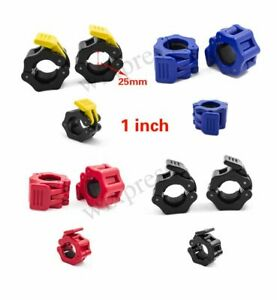 1 inch Pair Jaw Barbell Collar Muscle Clamps Bar Weight lifting Standard Lock