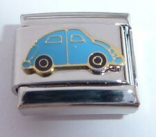 BLUE CAR Italian Charm - Beetle Love Bug 9mm fits Classic Starter Bracelets E85