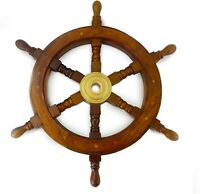 Wooden Captains Ship Wheel Solid Wood Great Pirate or Nautical Look (18 inch)