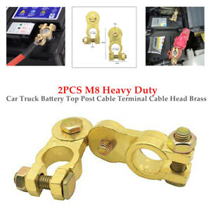 2PCS M8 16-18mm Car Truck Battery Top Post Cable Terminal Cable Head Brass Kit