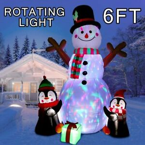6ft Inflatable Snowman with Light Outside Christmas Decorations Outdoor for Yard