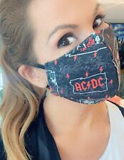Acdc Highway To Hell Face mask! Awesome Rock Music Black 80s FaceMask Ac/dc