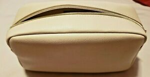 "Lacome Paris Make Up Bag Ivory Gold Zipper 9"" x 4"" NWOT"