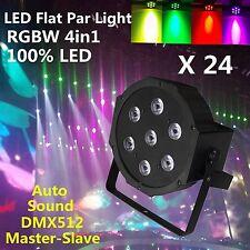 24PCS 7x10W 4in1 Auto DMX RGBW LED Par Light Flat Par64  DJ Party Stage Up light