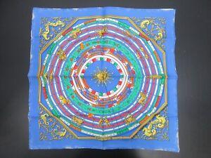 Authentic HERMES Petit Scarf DIES ET HORE 100% Silk Blue Multi Color 93937