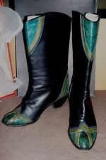 VINTAGE SZ 7 ANDREW GELLAR BOOTS BLACK LEATHER WITH TEAL SNAKE SKIN ACCENTS