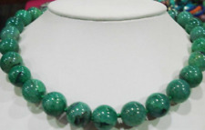 """Neatural 12mm faceted green dragon vein agate round necklace 18"""""""