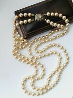 """Vintage LOTUS 22.5"""" Faux Pearl Double Strand Necklace Sterling Silver Clasp"""