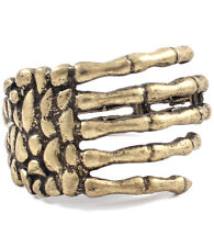 Statement Burnished Gold Skeleton Hand Cuff Bangle Bracelet by Rocks Boutique