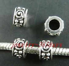 80pcs Tibetan Silver Beads Big Hole Spacers Fit Bracelet 9x5mm 8824