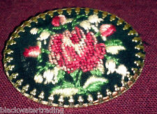 VINTAGE NEEDLEPOINT TAPESTRY ROSE FLORAL PIN BROOCH