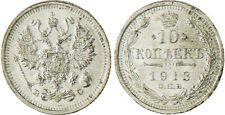 RUSSIE  ,  NICOLAS  II  ,  10  KOPEKS  ARGENT  1913  SAINT  PETERSBURG   SUPERBE