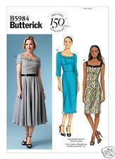 B5984 Misses Neckline-Detail Dresses Sizes 16-24 Butterick Sewing Pattern