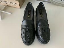 Pebe Ladies Size 4 Black Leather Slip On Shoes With Tassles