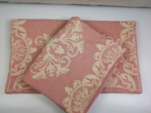 2 Pillow Shams King Mauve White Woven Cotton Pillow Covers Pair (made in India)