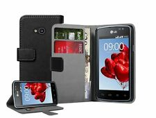 Wallet BLACK Leather Flip Case Cover Pouch for Mobile Phone LG L50 Sporty D213N