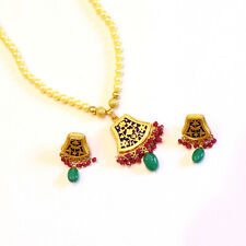Green Onyx-Pearl Gemstone Thewa Jewelry Set Sterling Silver Gold Plated Necklace