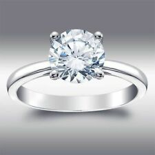 14k Solid White Gold Brilliant Round Cut Engagement Ring 2.04 Ct. Solitaire