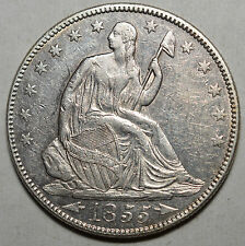 1855/4 SEATED HALF DOLLAR-.900 SILVER-KM 82-ABOUT UNCIRCULATED-FREE USA SHIP