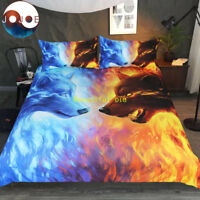 Doona Duvet Quilt Cover Set Queen/King/Double/Single Bed Fire Ice Wolf