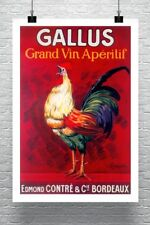 Rooster Gallus Vintage Liquor Advertising Poster Canvas Giclee Print 24x34 in.