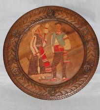 Assiette ancienne bois artisanat folklore Russie Vintage Russian Wooden Plate