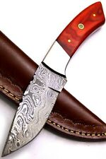 Custom Handmade Damascus Steel Fixed Blade Full Tang Skinner Knife | Hard Wood