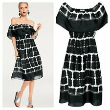 Rick Cardona Heine Size 8 10 Black Ivory Print DRESS Bardot On Off Shoulder £70
