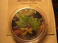 2002 Canada Maple Leaf 1 OZ $5 Coloured Fabulous Mint Coin Rare.
