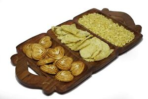 Handcrafted Wooden Serving Tray/Platter,3 Compartments For Snacks, Dry Fruits