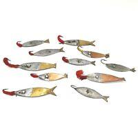 Vintage Homemade Fishing Lures Bait Lot of 11 Handmade Single Hook Metal Lures