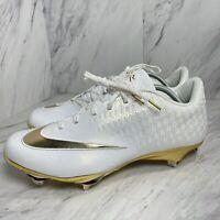 Nike Men's Lunar Vapor Elite 2 UltraFly Metal Baseball Cleats White Gold Size 12
