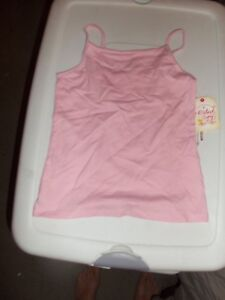 NWT Faded Glory Pink Cami Spaghetti Strap Tank Top Cotton Stretch Small 6-6X