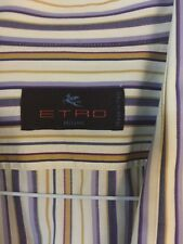 ETRO MENS 44  Dress SHIRT MULTI STRIPE 100% Cotton MADE IN ITALY